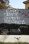 Milano, 30 ottobre 2014 Graffiti contro l'expo<br /> graffiti against expo