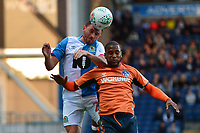 Blackburn Rovers' Corry Evans competes with Oldham Athletic's Gevaro Nepomuceno<br /> <br /> Photographer Richard Martin-Roberts/CameraSport<br /> <br /> The Carabao Cup First Round - Tuesday 13th August 2019 - Blackburn Rovers v Oldham Athletic - Ewood Park - Blackburn<br />  <br /> World Copyright © 2019 CameraSport. All rights reserved. 43 Linden Ave. Countesthorpe. Leicester. England. LE8 5PG - Tel: +44 (0) 116 277 4147 - admin@camerasport.com - www.camerasport.com