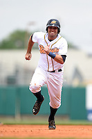 Montgomery Biscuits catcher Curt Casali (13) runs the bases during a game against the Mississippi Braves on April 22, 2014 at Riverwalk Stadium in Montgomery, Alabama.  Mississippi defeated Montgomery 6-2.  (Mike Janes/Four Seam Images)