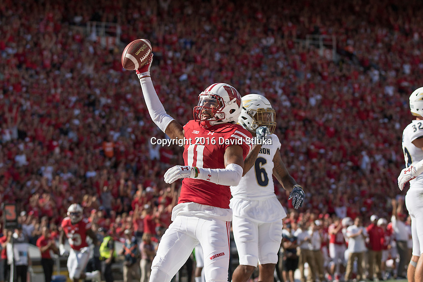 Wisconsin Badgers wide receiver Jazz Peavy (11) celebrates a touchdown during an NCAA college football game against the Akron Zips Saturday, September 10 2016, in Madison, Wis. The Badgers won 54-10. (Photo by David Stluka)