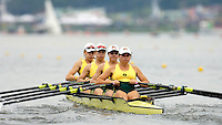Poznan, POLAND.  2006, FISA, Rowing, World Cup,  AUS W4X bow Catriona  SENS,  Sonia MILLS,  Dana FALETIC, Sally  KEHOE, move  away from  the  start, on the Malta  Lake. Regatta Course, Poznan, Thurs. 15.05.2006. © Peter Spurrier   ...[Mandatory Credit Peter Spurrier/ Intersport Images] Rowing Course:Malta Rowing Course, Poznan, POLAND