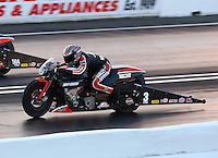 May 30, 2014; Englishtown, NJ, USA; NHRA pro stock motorcycle rider Eddie Krawiec during qualifying for the Summernationals at Raceway Park. Mandatory Credit: Mark J. Rebilas-