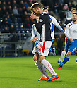 Falkirk's Rory Loy after he hits the bar with his second penalty.
