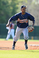 Infielder Elmer Reyes (13) of the Atlanta Braves farm system in a Minor League Spring Training workout on Tuesday, March 17, 2015, at the ESPN Wide World of Sports Complex in Lake Buena Vista, Florida. (Tom Priddy/Four Seam Images)