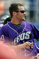 July 7th 2008:  Trevor Crowe of the Akron Aeros, Class-AA affiliate of the Cleveland Indians, during a game at NYSEG Stadium in Binghamton, NY.  Photo by:  Mike Janes/Four Seam Images