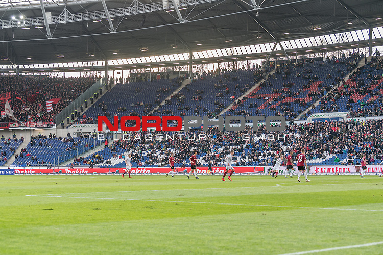 09.02.2019, HDI Arena, Hannover, GER, 1.FBL, Hannover 96 vs 1. FC Nuernberg<br /> <br /> DFL REGULATIONS PROHIBIT ANY USE OF PHOTOGRAPHS AS IMAGE SEQUENCES AND/OR QUASI-VIDEO.<br /> <br /> im Bild / picture shows<br /> Große Lücken / Leere Ränge beim Kellerduell, lt. offizieller Meldung kamen 33.700 Zuschauer / Fans ins Hannover 96 Stadion, <br /> <br /> Foto © nordphoto / Ewert
