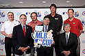 (L-R) Randy Johnson, Minoru Sakayachi, Luis Gonzalez, AUGUST 18, 2015 - Baseball : L-R president and CEO, Diamondbacks Derrick Hall, Vice president of Asia Pacific MLB, Jim Small, Chief Baseball Officer Diamondbacks,Tony La Russa, vice president AIG Japan, Matthew Walker, Randy Johnson, CEO of the Arizona Diamondbacks, , Chairman, Japan Little League Baseball Association, Minoru Sakayachi  CEO Diamondbacks Luis Gonzalez attend AIG Presents 'MLB CUP 2016' press conference at Tokyo Japan on 18 Aug 2015. The Little League Baseball tournament for Japanese 4th and 5th grade elementary school children is part sponsored by the MLB and the winning team will be invited to watch an MLB game.  (Photo by Motoo Naka/AFLO)