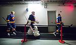 Stockholm 2014-09-05 Ishockey CHL Djurg&aring;rdens IF - Eisb&auml;ren Berlin :  <br /> Djurg&aring;rdens m&aring;lvakt goalkeeper Mantas Armalis p&aring; v&auml;g ut till matchen mellan Alexander Falk (l&auml;ngst bak) och Markus Ljungh  <br /> (Foto: Kenta J&ouml;nsson) Nyckelord:  Djurg&aring;rden Hockey Hovet CHL Eisb&auml;ren Berlin portr&auml;tt portrait