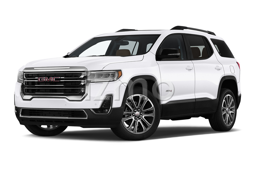 Stock pictures of low aggressive front three quarter view of a 2020 GMC Acadia AT4 5 Door SUV