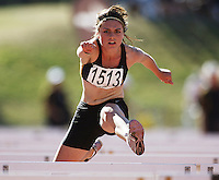Wellington's April Campbell competes in the women's under-16 100m hurdles during day two of the National athletics championships at Newtown Park, Wellington, New Zealand on Saturday, 28 March 2009. Photo: Dave Lintott / lintottphoto.co.nz