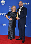Arianne Sutner, Chris Butler 162 poses in the press room with awards at the 77th Annual Golden Globe Awards at The Beverly Hilton Hotel on January 05, 2020 in Beverly Hills, California.