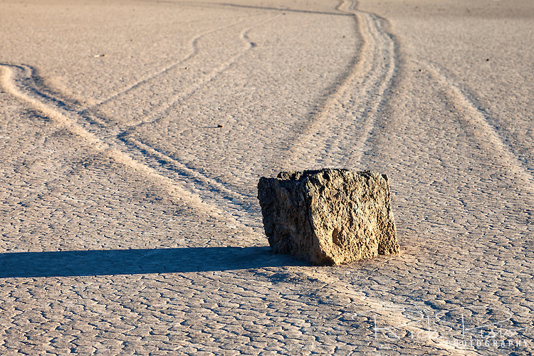 Many trails left by sailing rocks on the Racetrack Playa in Death Valley National Park is evidence of the rocks motion across the playa. The Racetrack Playa is known for its 'sailing stones' which are rocks that mysteriously move across its surface.