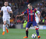 21.04.2015 Barceloona. UEFA Champions League, Quarter-finals 2nd leg. Picture show Andres Iniesta in action during game between FC Barcelona against Paris Saint-Germain at Camp Nou