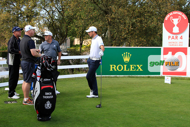 Damien McGrane (IRL) and Simon Thornton (IRL) with their caddis on the 10th tee during Practice Day of The Open De Espana at The PGA Catalunya Resort on Tuesday 13th May 2014.<br /> Picture:  Thos Caffrey / www.golffile.ie