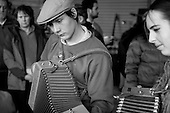 Accordionists paly at a festival of traditional music and instrument-makers, St Jean du Gard, France