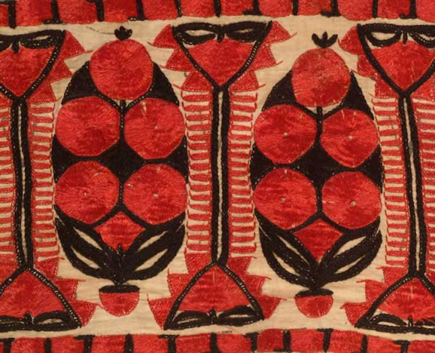 ANTIQUE SINDH WEDDING ABOCHINI PHULKARI BAGH SHAWL FROM SINDH REGION OF UNDIVIDED INDIA, NOW PAKISTAN. HAND EMBROIDERED WITH SILK FLOSS. <br /> <br /> The needlework done in radiating stitches with buttonhole stitch or the so called Sindhi stitch.<br /> <br /> Rare densely embroidered field. <br /> <br /> circa 1900.<br /> <br /> 58&quot; x 80&quot;