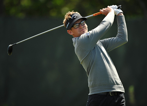 Dylan Meyer tees off from the 2nd Hole during a practice round prior to the U.S. Open Championship at Shinnecock Hills Golf Club in Southampton on Monday, June 11, 2018.