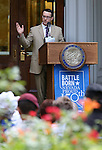 Dr. Joe Uccelli speaks at the USS Nevada Centennial of Launch ceremony at the Capitol, in Carson City, Nev., on Friday, July 11, 2014. Uccelli was part of a Nevada class that created the original USS Nevada memorial. <br /> Photo by Cathleen Allison