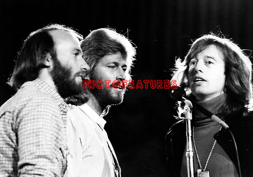 Bee Gees 1979 Maurice Gibb, Barry Gibb and Robin Gibb at UNICEF concert at the UN