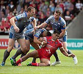 June 4th 2017, AJ Bell Stadium, Salford, Greater Manchester, England;  Rugby Super League Salford Red Devils versus Wakefield Trinity; Lama Tasi of Salford gets taken to ground by the Wakefield pack