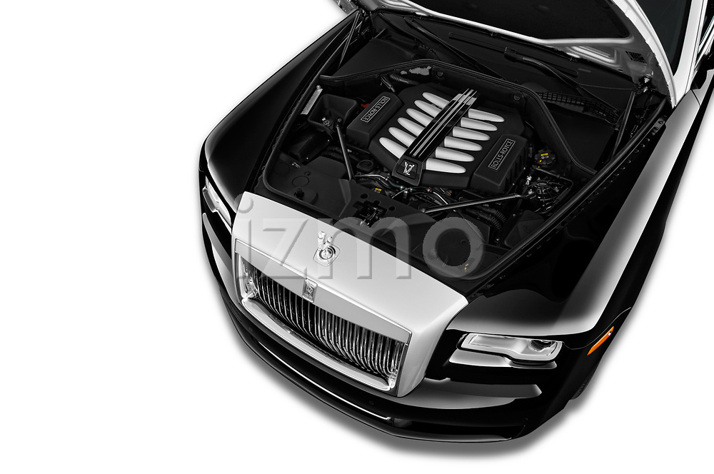 Car stock 2017 Rollsroyce Ghost            Base 4 Door Sedan engine high angle detail view