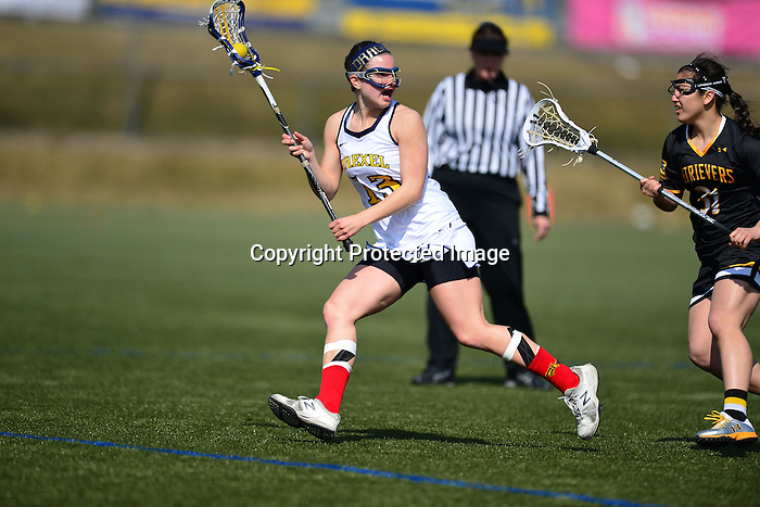 PHILADELPHIA &ndash; The Drexel women's lacrosse team jumped all over visiting UMBC early and held on late as the Dragons snapped a three-game losing skid with a 9-8 victory over the Retrievers. The Dragons led 4-0 before letting UMBC get on the board, then endured a 22:55 scoring drought as the Retrievers evened things up. Drexel never trailed in the game.<br /> <br /> Kelly Palace scored three goals to lead the Dragons (3-3), including two in the final 12:35 of play to provide the eventual game-winners. Emily Duffey added two scores. Teresha Bradley stopped nine Retriever shots, including several from point blank range. It was her second-highest save total of the young season.<br /> <br /> Drexel controlled play, winning 16 of the game's 19 draw controls. Milan White, who took the draws for the Dragons, came up with five herself, as did Amanda Norcini. Nevertheless, 15 Drexel turnovers kept the Retrievers in the contest.<br /> <br /> The Dragons wasted little time jumping on top in their first home game in 10 days. Joelle Hartke got the scoring started less than two minutes into the action. That was followed 1:58 later by Palace's first goal, a man-up score after UMBC's Jackie Benson had drawn her first of two yellow cards on the afternoon. Alissa Watts roped in her fourth goal of the season exactly a minute later, giving the Dragons a 3-0 lead just 4:45 into the game.<br /> <br /> Drexel would make it 4-0 at the 14:48 mark when Emily Duffey notched the first of two goals for her on Saturday, taking a feed from Hartke behind the net and nudging past a defender before scoring.<br /> <br /> That would be the end of the Drexel offensive production for nearly 23 minutes of game play. UMBC finally got on the board in the 25 th minute of play, adding a second with less than a minute remaining in the first half to slash Drexel's lead in half.<br /> <br /> Despite the Dragons' continued dominance of the draw controls in the second half, UMBC managed to force Drexel mistakes and square the game at four goals apiece less than 2:30 into the second h