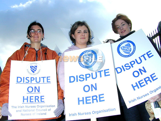 Paula O'Neill, Siobhan Byrne and Sharon Carolan striking outside Our Lady of Lourdes Hospital..Picture Paul Mohan Newsfile
