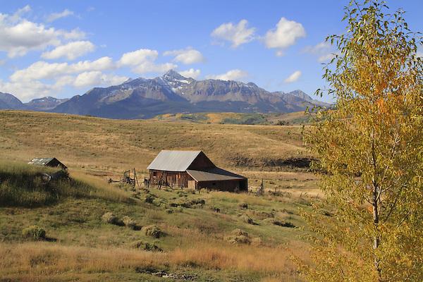 Ranch barn at the base of Wilson Peak (14,016 ft), San Juan Mountains, Colorado, USA