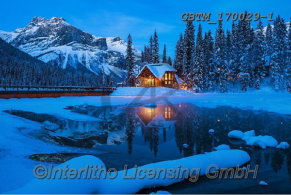 Tom Mackie, CHRISTMAS LANDSCAPES, WEIHNACHTEN WINTERLANDSCHAFTEN, NAVIDAD PAISAJES DE INVIERNO, photos,+British Columbia, Canada, Canadian, Canadian Rockies, Emerald Lake, North America, Tom Mackie, USA, Yoho National Park, blue,+blue hour, building, buildings, cabin, chalet, cold, freeze, freezing, frozen, gold, golden, holiday destination, horizontal+horizontals, lake, lakes, landscape, landscapes, mountain, mountainous, mountains, national park, pine tree, pine trees, ref+lect, reflecting, reflection, reflections, season, snow, snow-covered, time of day, touris,British Columbia, Canada, Canadia+,GBTM170029-1,#xl#