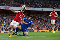 Leicester City's Shinji Okazaki battles for possession with Arsenal's Sead Kolasinac<br /> <br /> Photographer Craig Mercer/CameraSport<br /> <br /> The Premier League - Arsenal v Leicester City - Friday 11th August 2017 - Emirates Stadium - London<br /> <br /> World Copyright &copy; 2017 CameraSport. All rights reserved. 43 Linden Ave. Countesthorpe. Leicester. England. LE8 5PG - Tel: +44 (0) 116 277 4147 - admin@camerasport.com - www.camerasport.com