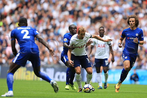 20th August 2017, Wembley Stadium, London, England; EPL Premier League football, Tottenham Hotspur versus Chelsea; Ngolo Kante of Chelsea holds onto Harry Kane of Tottenham Hotspur