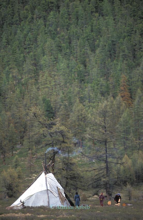 A Tsaatan  settlement in Northern outer Mongolia Russian border.