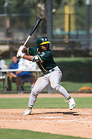 Oakland Athletics second baseman Cobie Vance (19) at bat during an Instructional League game against the Los Angeles Dodgers at Camelback Ranch on October 4, 2018 in Glendale, Arizona. (Zachary Lucy/Four Seam Images)