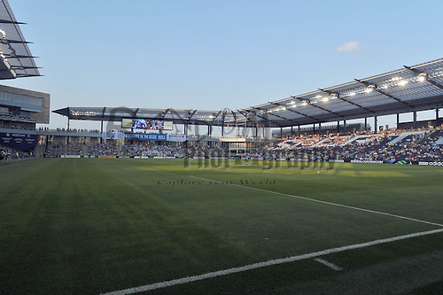 July 30, 2011; Kansas City, KS, USA; A general view of LIVESTRONG Sporting Park prior to the soccer match at between Sporting KC and the New England Revolution. The match ended in a 1-1 draw. Mandatory Credit: Denny Medley-US PRESSWIRE