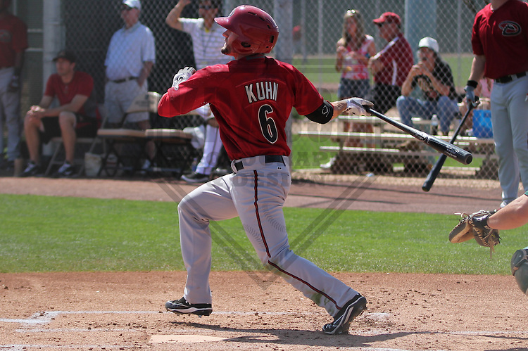 SCOTTSDALE - March 2013: Tyler Kuhn (6)  of the Arizona DiamondBacks during a Spring Training game against the Oakland A's on March 19, 2013 at Salt River Fields in Scottsdale, Arizona.  (Photo by Brad Krause). .