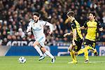 Isco Alarcon of Real Madrid (L) in action against Borussia Dortmund Julian Weigl (R) during the Europe Champions League 2017-18 match between Real Madrid and Borussia Dortmund at Santiago Bernabeu Stadium on 06 December 2017 in Madrid Spain. Photo by Diego Gonzalez / Power Sport Images