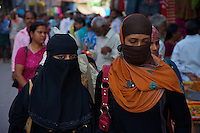 Muslim women in the Streets  in Varanasi India's holiest city.