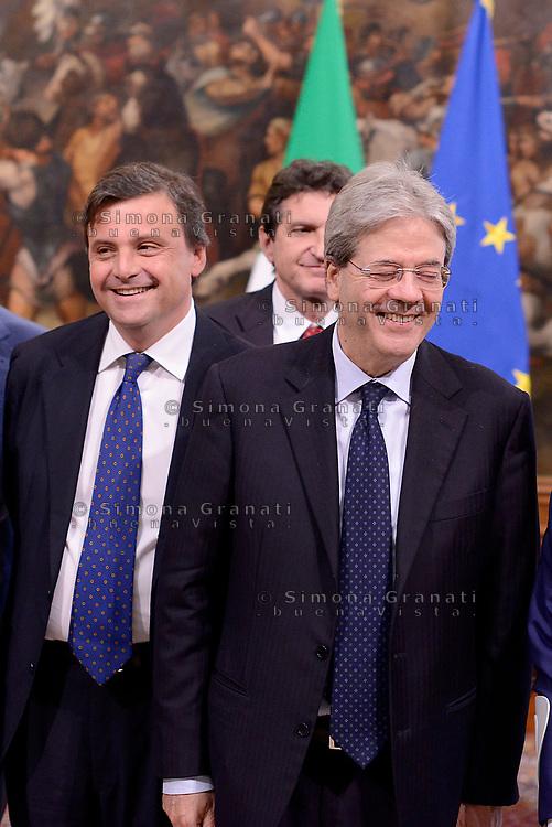 Roma, 4 Maggio 2017<br /> Palazzo Chigi,  cerimonia di firma del Protocollo d&rsquo;intesa sui Call Center, con il Presidente del Consiglio Paolo Gentiloni  e il Ministro dello Sviluppo Economico Carlo Calenda