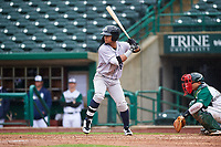 Kane County Cougars Jorge Perez (16) at bat during a Midwest League game against the Fort Wayne TinCaps at Parkview Field on May 1, 2019 in Fort Wayne, Indiana. Fort Wayne defeated Kane County 10-4. (Zachary Lucy/Four Seam Images)