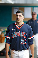 University of Virginia Cavaliers shortstop Daniel Pinero (22) during a game against the University of Coastal Carolina Chanticleers at Springs Brooks Stadium on February 21, 2016 in Conway, South Carolina. Coastal Carolina defeated Virginia 5-4. (Robert Gurganus/Four Seam Images)