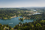 Aerial view of Lake Oswego south of Portland, Oregon.