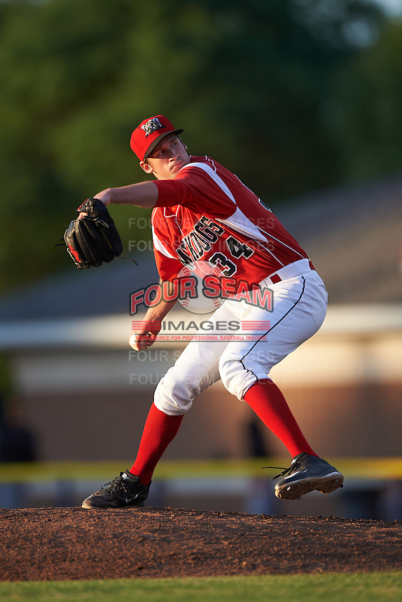 Batavia Muckdogs relief pitcher Chad Smith (34) during a game against the Aberdeen Ironbirds on July 16, 2016 at Dwyer Stadium in Batavia, New York.  Aberdeen defeated Batavia 9-0. (Mike Janes/Four Seam Images)