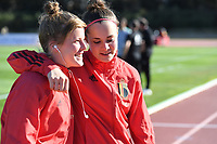 20200307  Parchal , Portugal : Belgian Laura Deloose (22) pictured with Belgian goalkeeper Diede Lemey (12) prior to the female football game between the national teams of Belgium called the Red Flames and Portugal on the second matchday of the Algarve Cup 2020 , a prestigious friendly womensoccer tournament in Portugal , on saturday 7 th March 2020 in Parchal , Portugal . PHOTO SPORTPIX.BE | DAVID CATRY