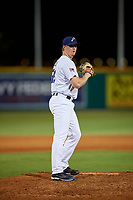 Pensacola Blue Wahoos relief pitcher Sam Clay (18) during a Southern League game against the Biloxi Shuckers on May 3, 2019 at Admiral Fetterman Field in Pensacola, Florida.  Pensacola defeated Biloxi 10-8.  (Mike Janes/Four Seam Images)