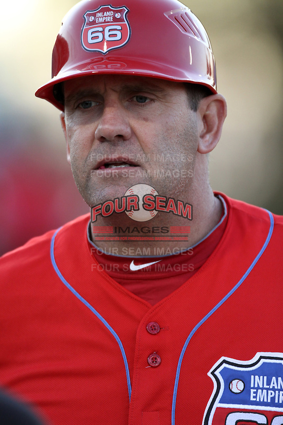 Inland Empire 66'ers manager Bill Hasselman #21 before a game against the Modest Nuts at San Manuel Stadium on April 16, 2012 in San Bernardino,California. Inland Empire defeated Modesto 4-3.(Larry Goren/Four Seam Images)