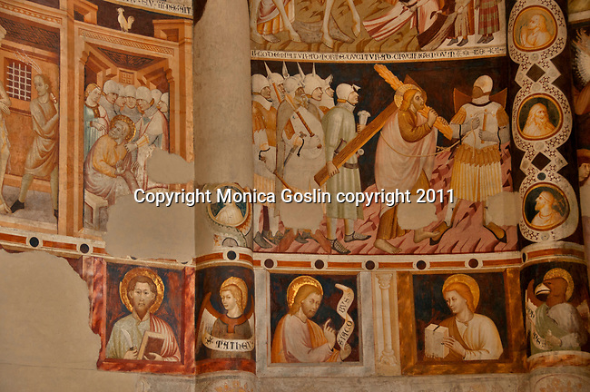 The 11th century church S. Abbondio, dedicated to the patron Saint of the city of Como on Lake Como. The church of S. Abbondio in Como, Italy has frescos from the 14th and 15th centuries.