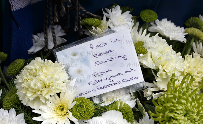Message on the floral tribute from Celtic FC for Sandy Jardine