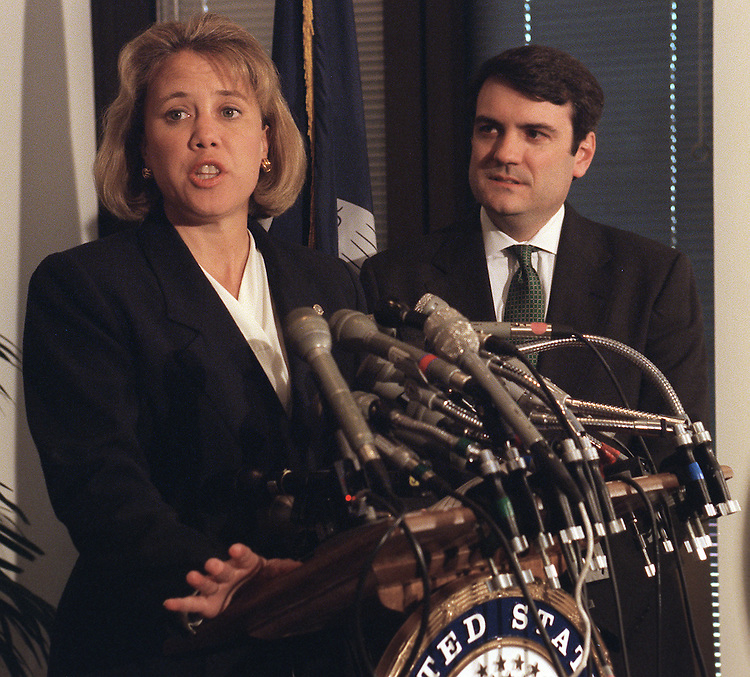 4/8/97.Sen. Mary Landrieu, D-La., makes statement at press conference after release of bi-partisan report recommending the dismissal of the majority of Woody Jenkins' charges in the Louisiana Senate race. Attorney G. Anthony Gelderman III of Tarcza & Gelderman in New Orleans, looks on..PHOTO BY SCOTT J. FERRELL