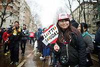 Asian fan in Milan cheering for belgian team Lotto-Soudal<br /> <br /> 106th Milano - San Remo 2015