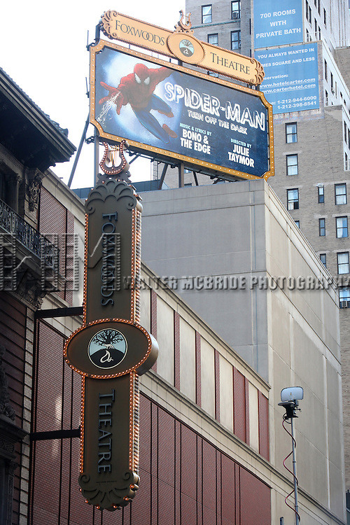 Theatre Marquee for the Final Curtain Call Bow for the Original Version of 'Spider-Man Turn Off The Dark'. The show takes a brief Hiatus before the New Version Debuts on5/12/2011 in New York City.